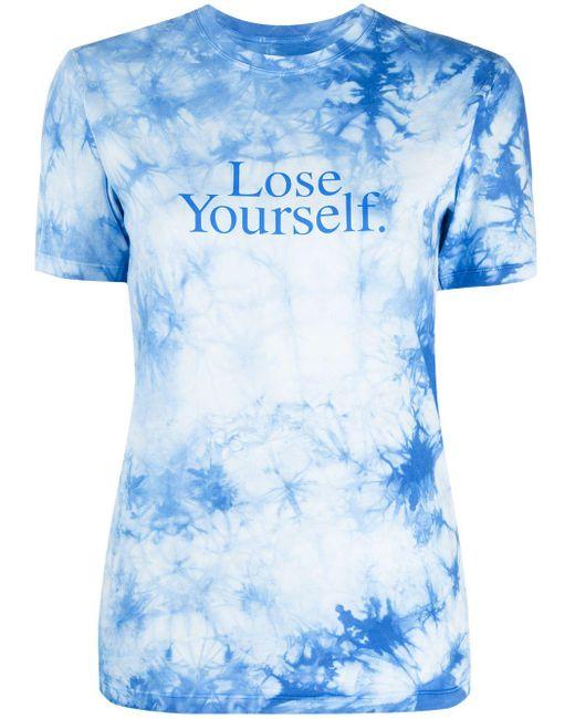 T-shirt con fantasia tie-dye di Paco Rabanne in Blue