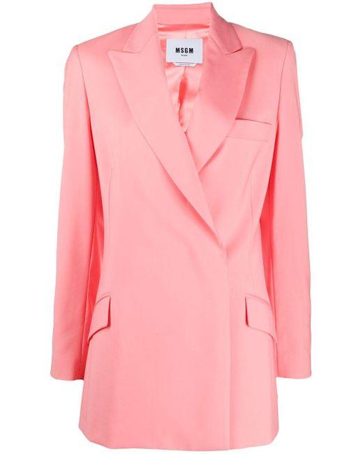 Пиджак С Запахом И Заостренными Лацканами MSGM, цвет: Pink