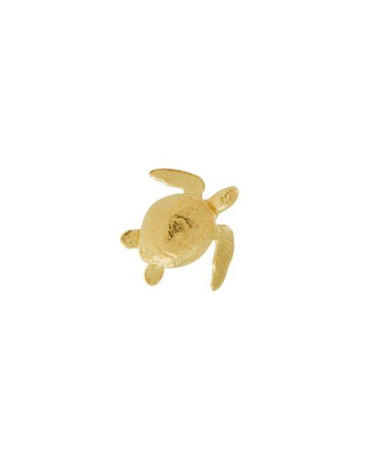 Alex Monroe Teeny Tiny Sea Turtle ピアス 18kイエローゴールド Metallic