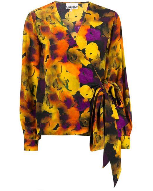 Блузка С Запахом Ganni, цвет: Yellow