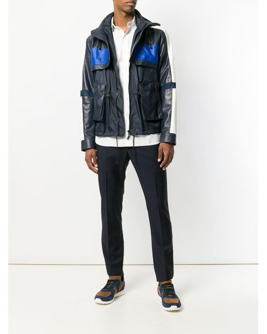 Valentino Blue Leather Jacket for men