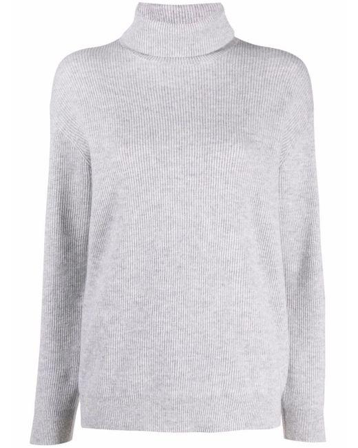 Джемпер В Рубчик С Высоким Воротником Brunello Cucinelli, цвет: Gray