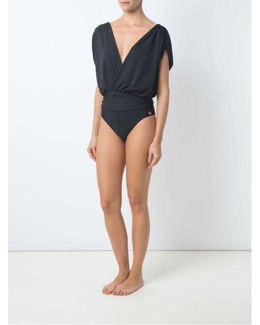 Brigitte Bardot Black Deep V Neck Swimsuit