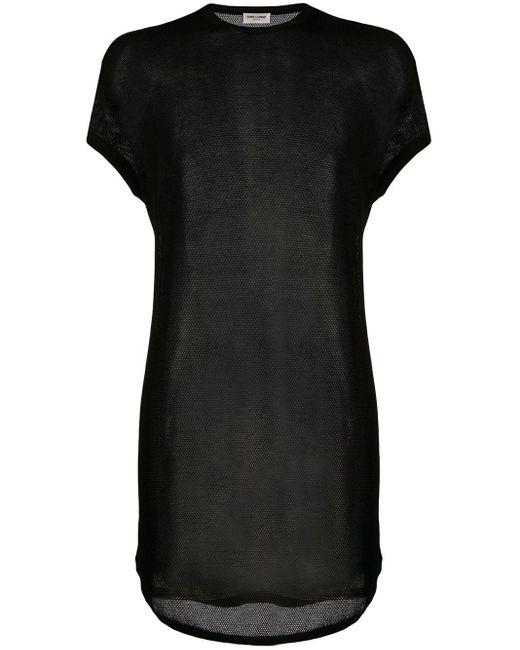 メンズ Saint Laurent シアー コットン Tシャツ Black