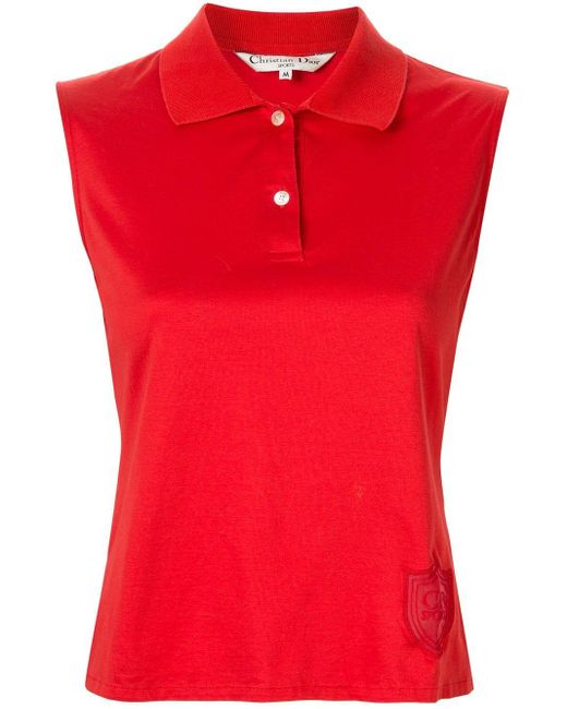 Dior エンブロイダリー ポロシャツ Red