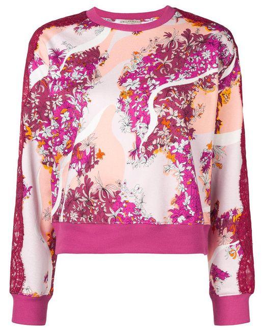 Emilio Pucci - Pink Lace Panels Floral Sweatshirt - Lyst