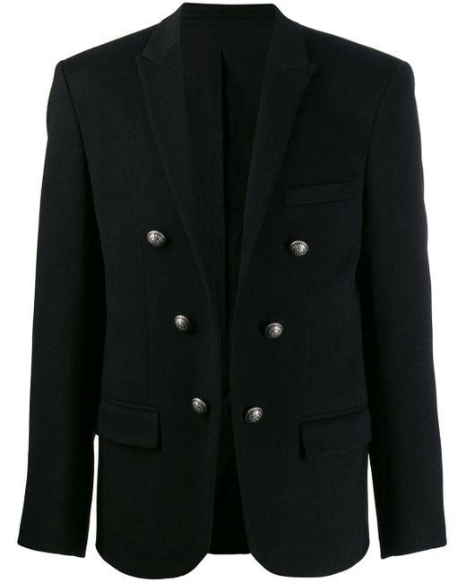 メンズ Balmain フロントボタン ジャケット Black
