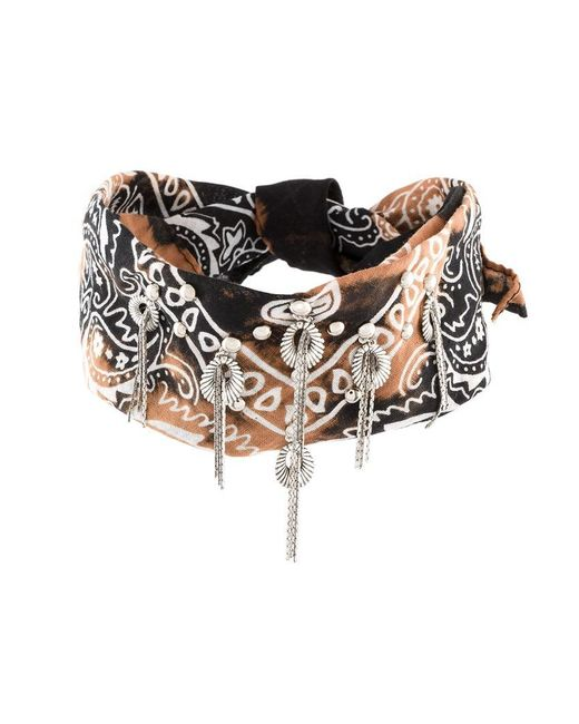 DANNIJO - Black Printed Bandana Necklace - Lyst