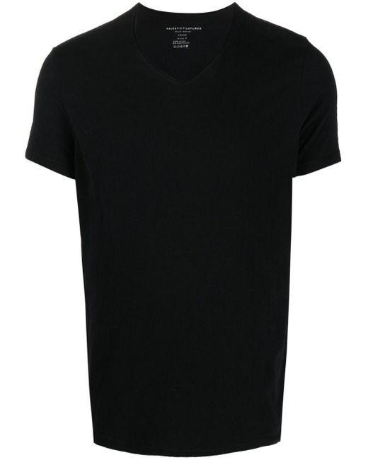 メンズ Majestic Filatures クルーネック Tシャツ Black