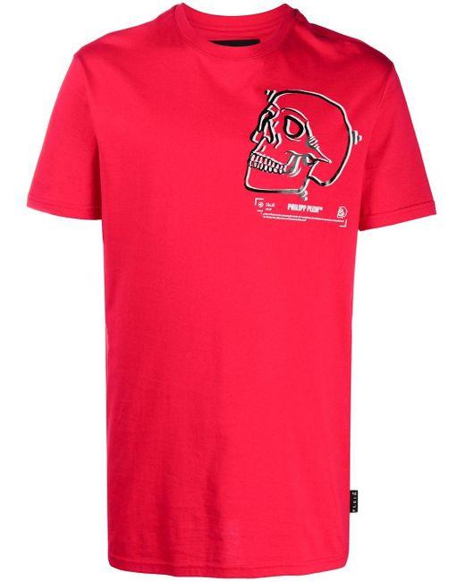 Philipp Plein Red Outline Skull Crew Neck T-shirt for men