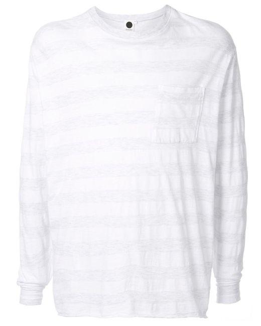 メンズ Bassike ストライプ ロングtシャツ White
