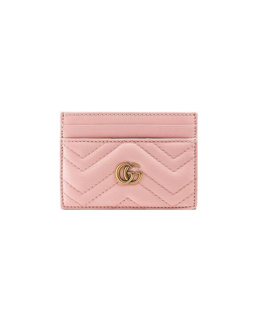 9f3a7509874 Gucci - Pink GG Marmont Card Case - Lyst ...