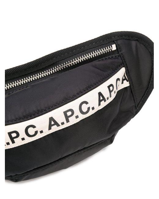 メンズ A.P.C. ロゴ ベルトバッグ Black