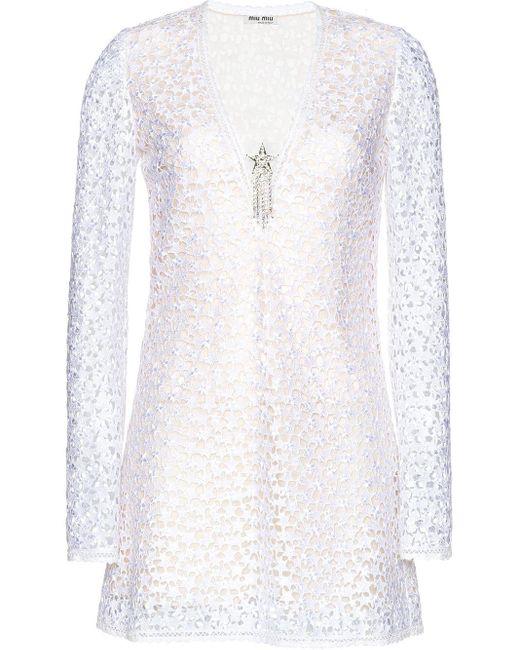 Miu Miu マクラメ ドレス White