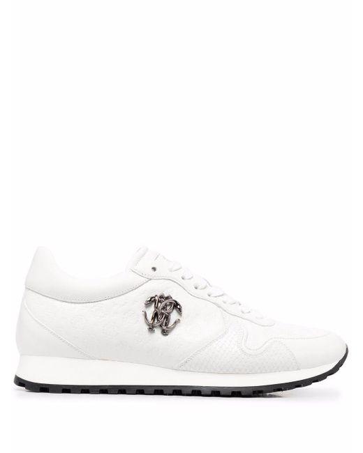 Roberto Cavalli White Rc Monogram-debossed Sneakers for men
