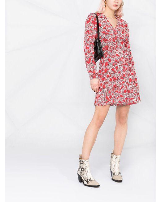 Diane von Furstenberg プリント ラップドレス Red
