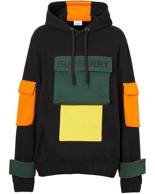 メンズ Burberry ロゴ カラーブロック パーカー Black