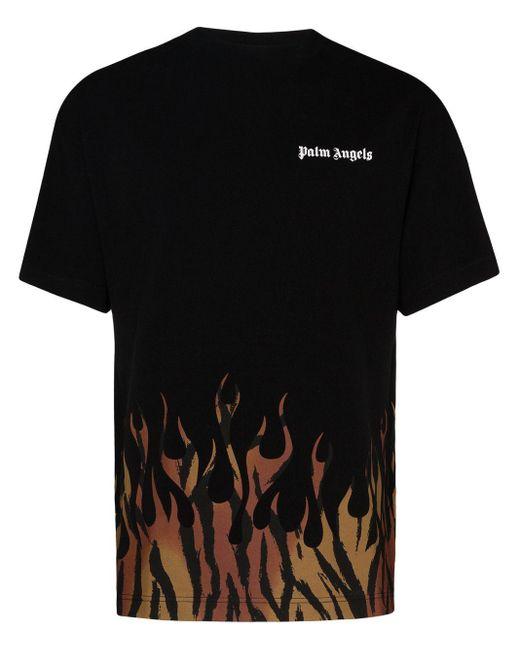 メンズ Palm Angels ブラック Tiger Flames ロング スリーブ T シャツ Black