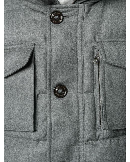 Пуховик На Пуговицах Moncler для него, цвет: Gray
