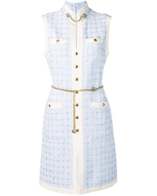 Gucci チェーンベルト ツイードドレス Blue