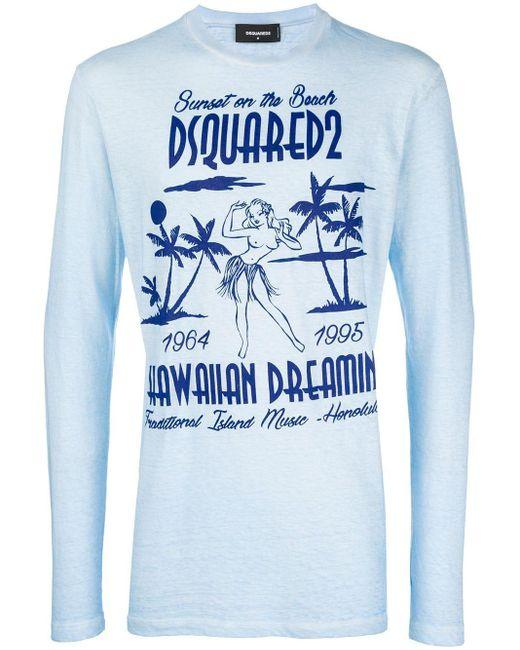 メンズ DSquared² プリントスウェットシャツ Blue