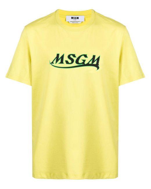 T-shirt con stampa di MSGM in Yellow da Uomo