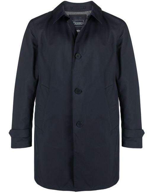 Herno Blue Single-breasted Overcoat for men