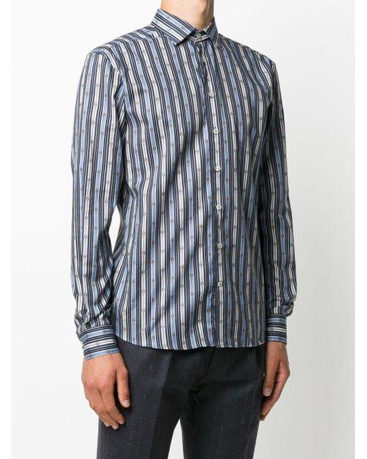 Полосатая Рубашка На Пуговицах Etro для него, цвет: Blue