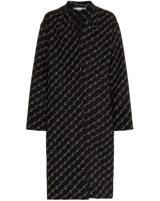 Stella McCartney Black Logo Print Oversized Coat