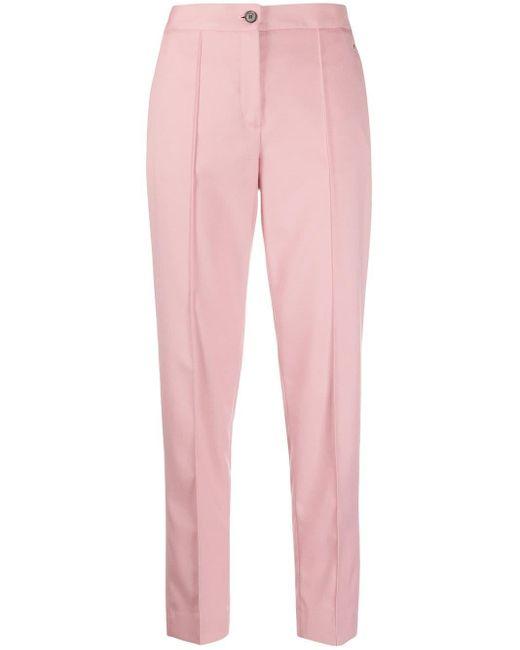 Calvin Klein Pantalones rectos ajustados de mujer de color rosa