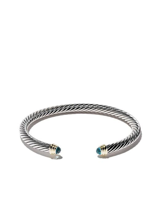 David Yurman - Metallic Cable Classics Sterling Silver, Blue Topaz And 14kt Yellow Gold Accented Cuff Bracelet - Lyst