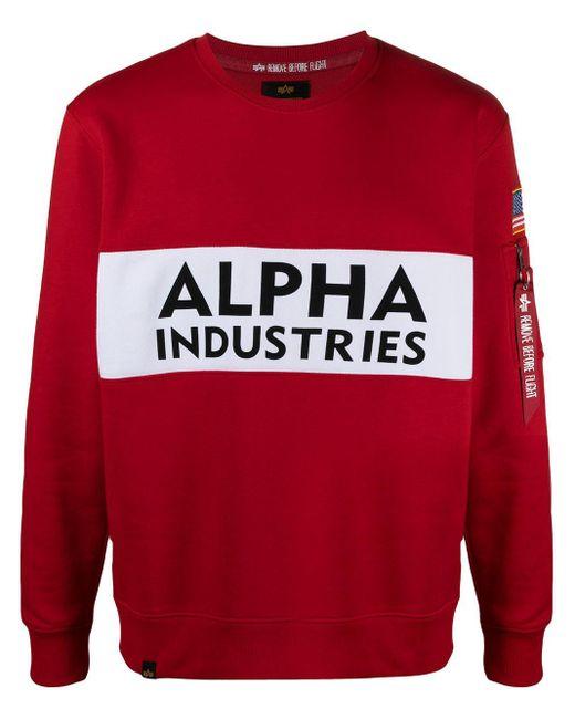 メンズ Alpha Industries バイカラー スウェットシャツ Red