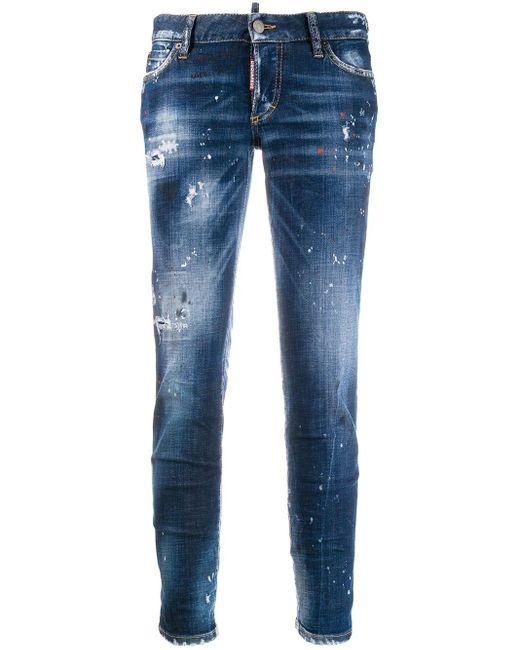 Jean skinny à effet usé DSquared² en coloris Blue