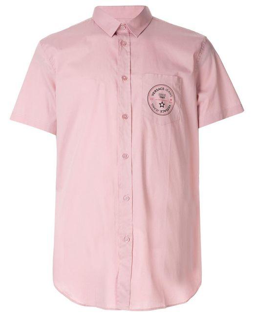 メンズ Versace Jeans ロゴプリント シャツ Pink