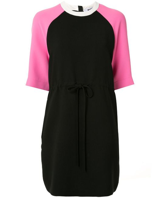 MSGM バイカラー Tシャツワンピース Pink