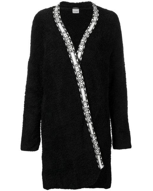 2e2d2871e5 Pinko - Black Wrap Fleece Coat - Lyst ...