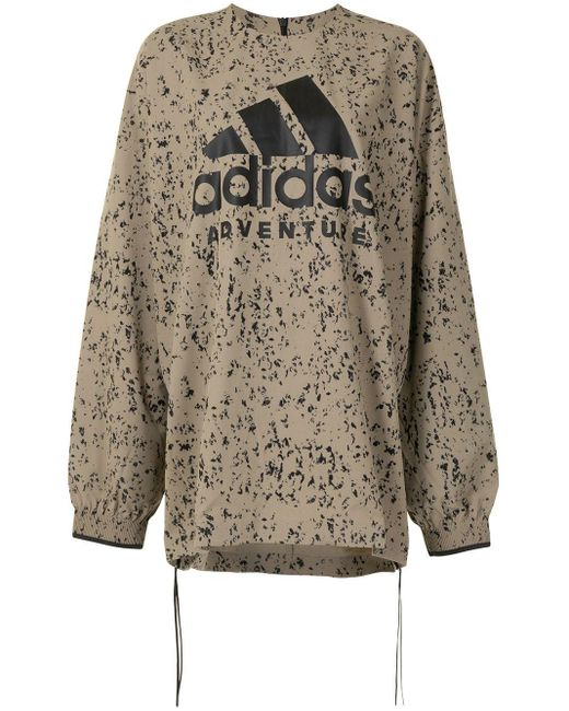 Adidas X Hyke プリント スウェットシャツ Brown