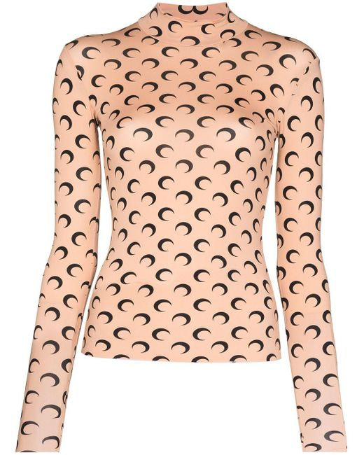 MARINE SERRE Multicolor Printed Round Neck T-shirt