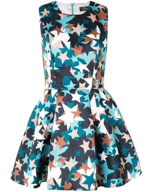 Расклешенное Платье Мини С Принтом Elisabetta Franchi, цвет: Green