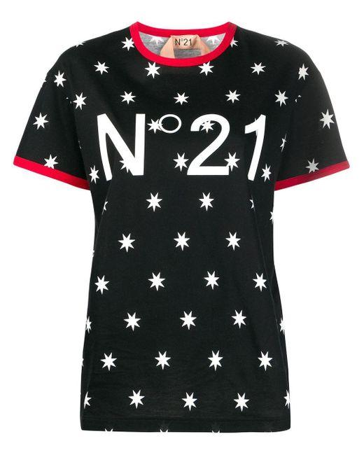 N°21 スター プリント Tシャツ Black