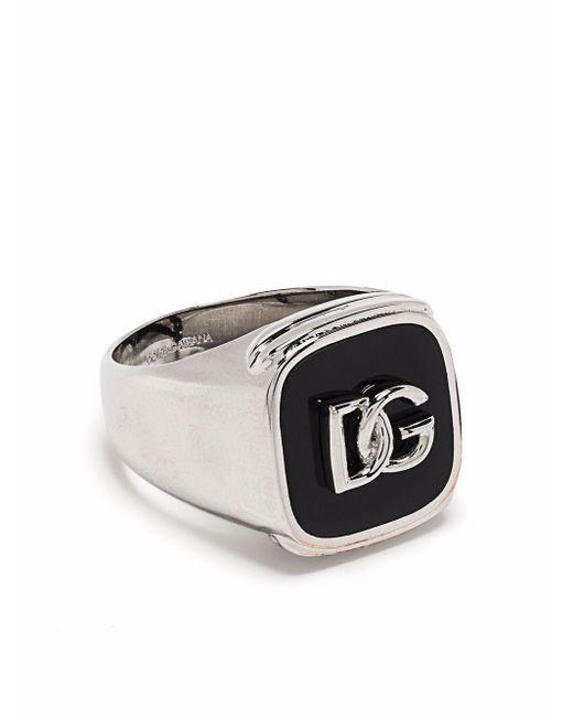 Кольцо-печатка С Логотипом Dolce & Gabbana для него, цвет: Metallic