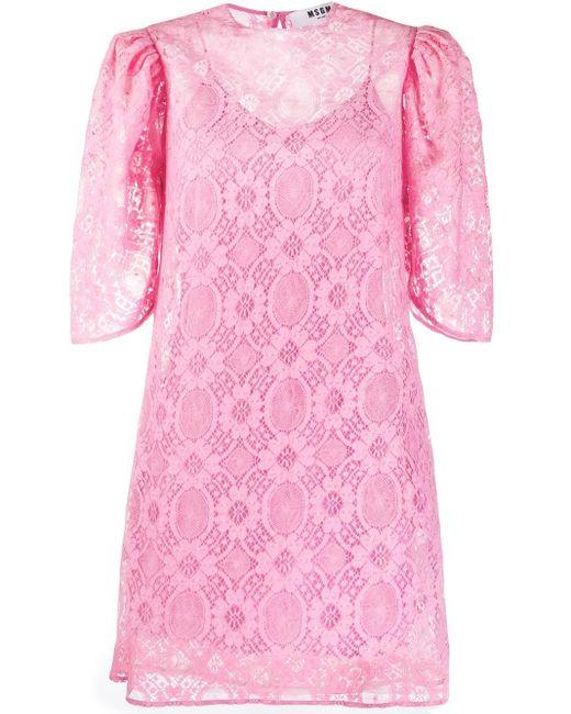 MSGM パフスリーブ ドレス Pink