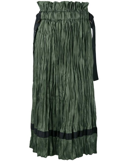 Sacai - Green Textured Midi Skirt - Lyst