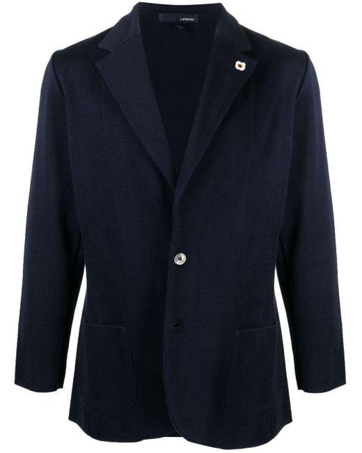 Однобортный Пиджак Тонкой Вязки Lardini для него, цвет: Blue