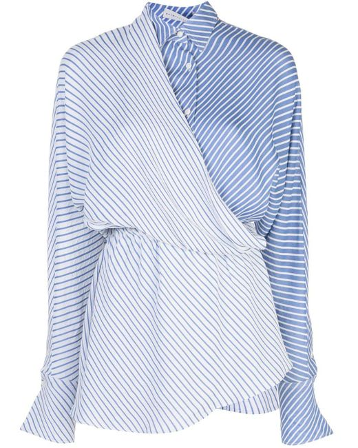 Palmer//Harding ストライプ ラップシャツ Blue
