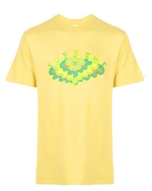 メンズ Supreme プリント Tシャツ Yellow