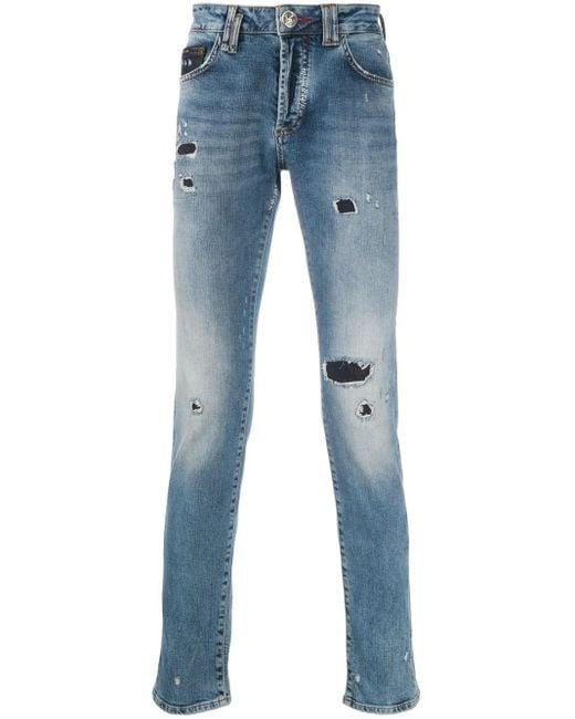 Philipp Plein Gerade Jeans mit Totenkopf in Blue für Herren