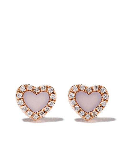 AS29 Miami Heart ダイヤモンド パール ピアス 18kローズゴールド Metallic