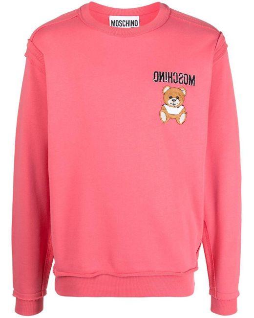 Футболка С Вышивкой Teddy Bear Moschino для него, цвет: Pink