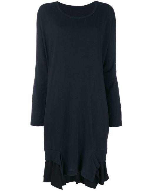 Y's Yohji Yamamoto Layered Ruffle Hem Sweater Dress Multicolor